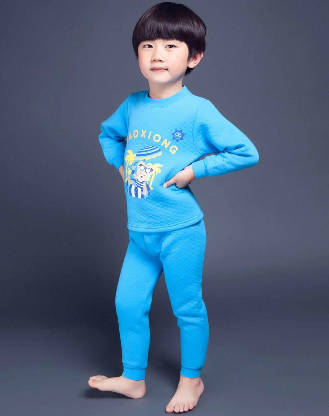 浪小熊印花保暖儿童内衣bs