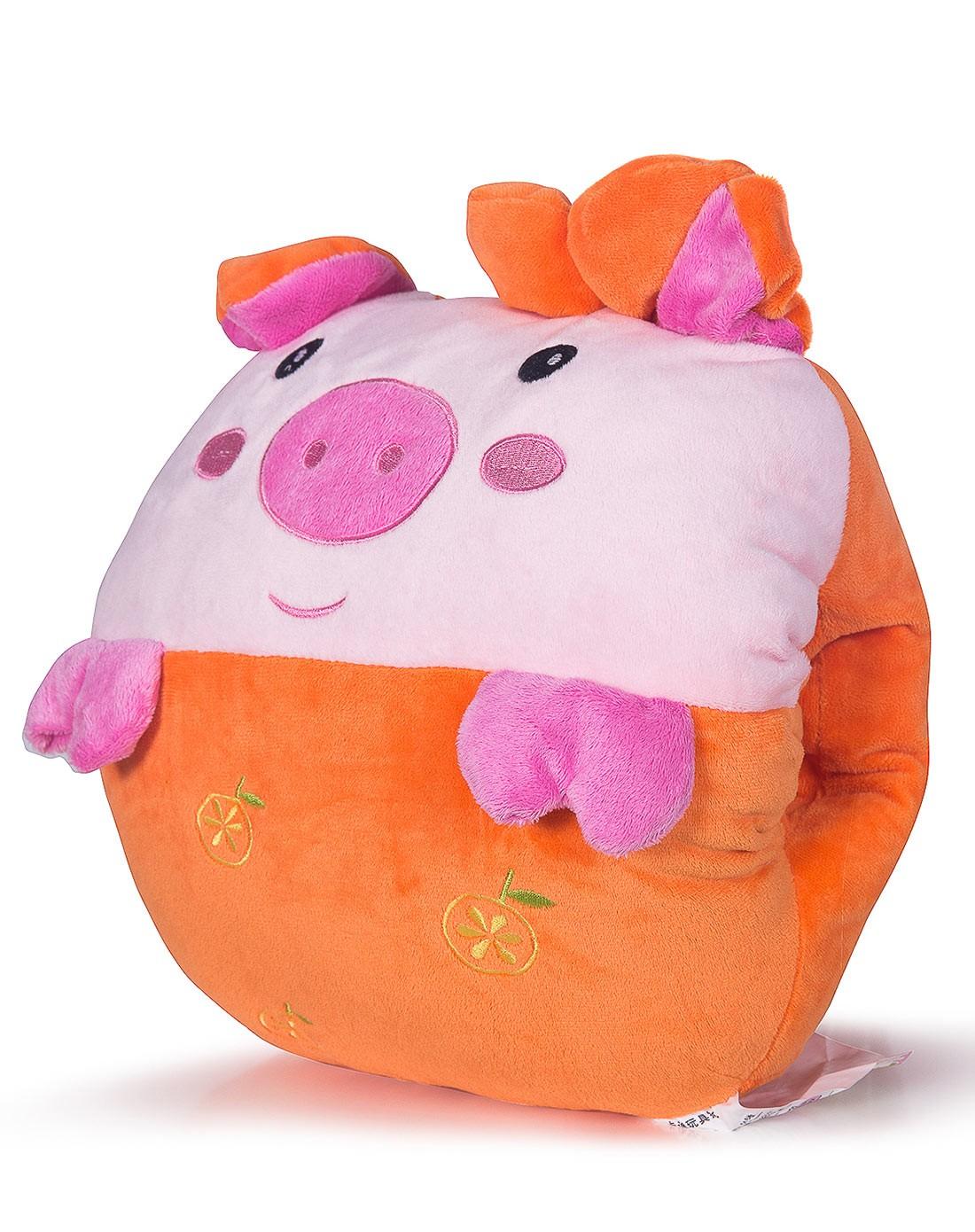 可爱橘黄色水果猪暖手抱枕