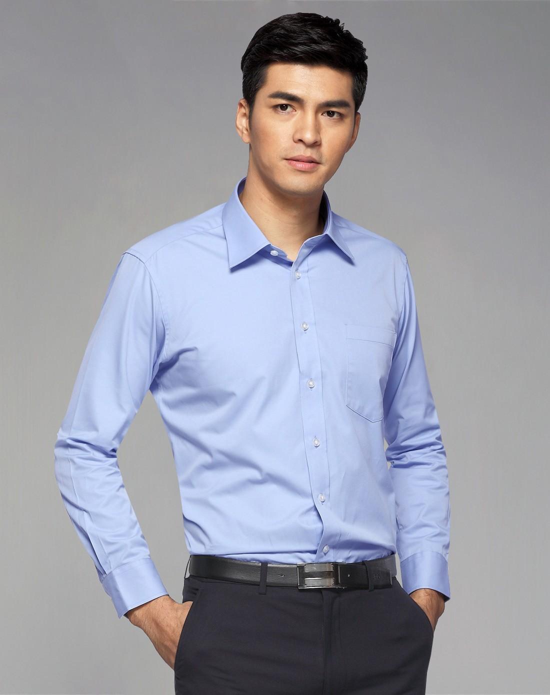 蓝色精英型商务正装长袖衬衫