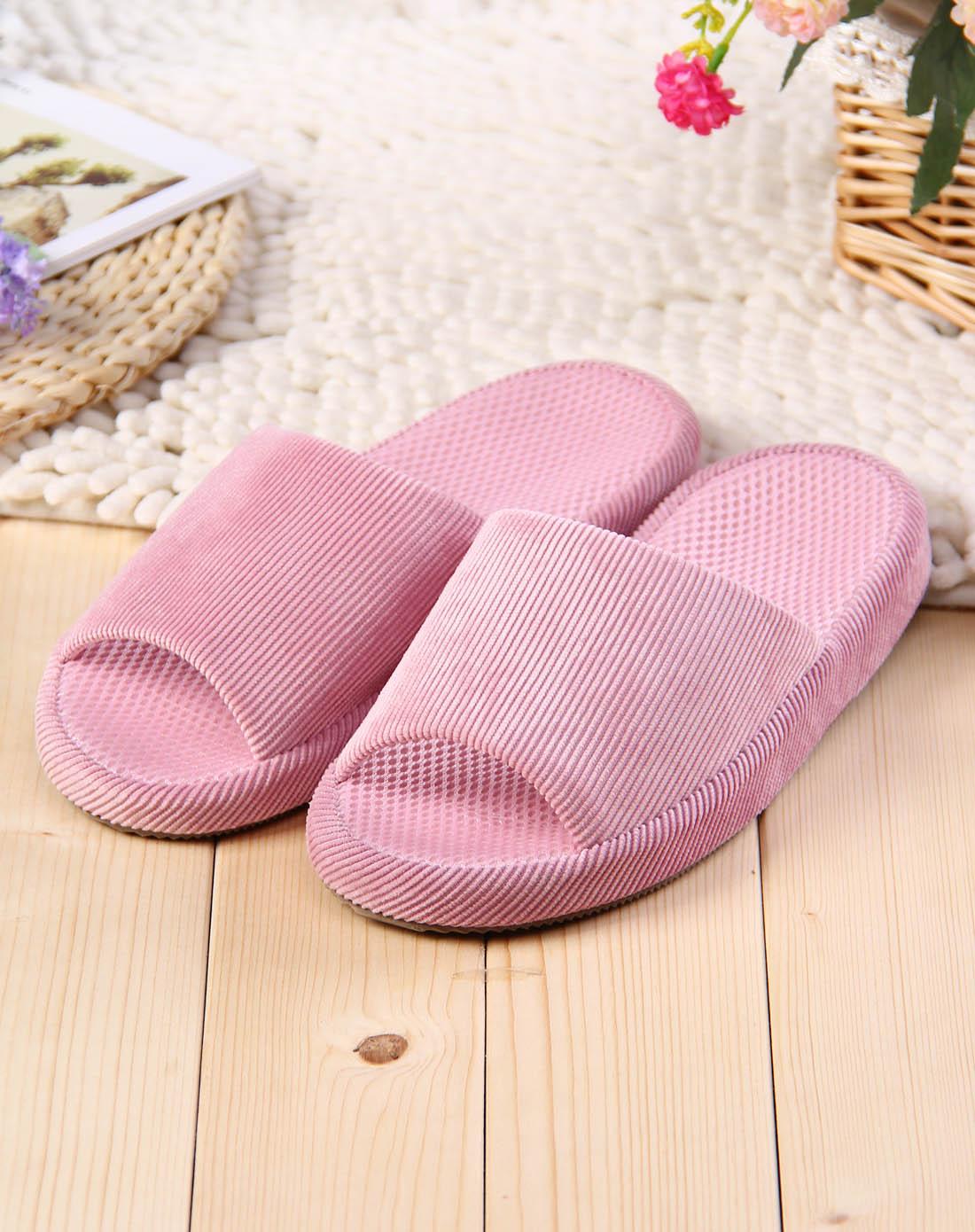 女士粉红色竖条纹理棉拖鞋