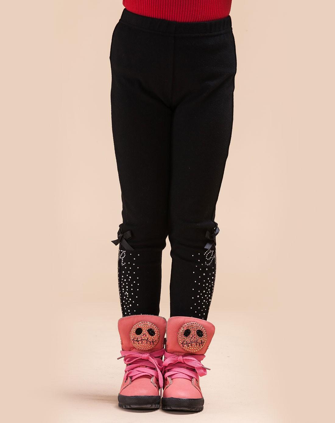 红蜻蜓kids童装童鞋专场女童黑色裤子522y33s697001
