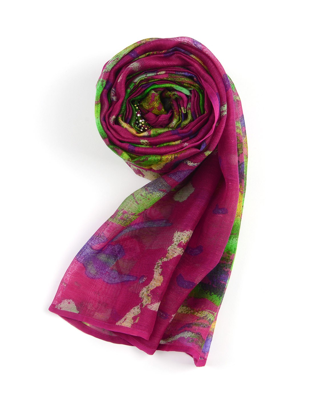 丝界围巾专场-100%桑蚕丝围巾花样火焰紫色