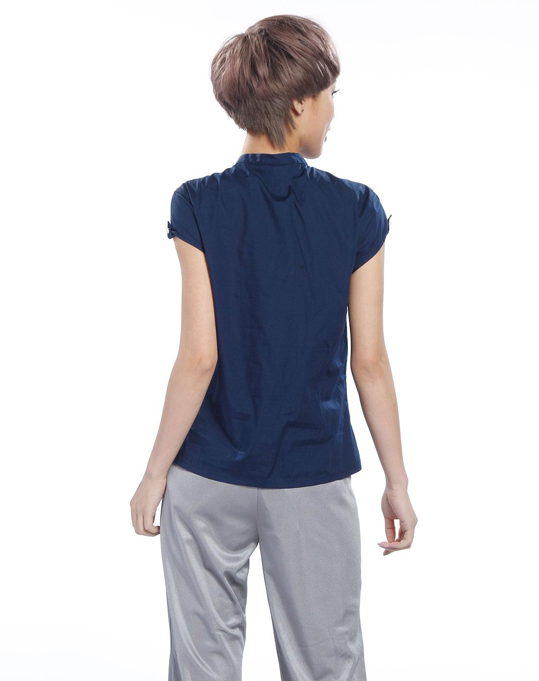 女款深蓝色短袖t恤1