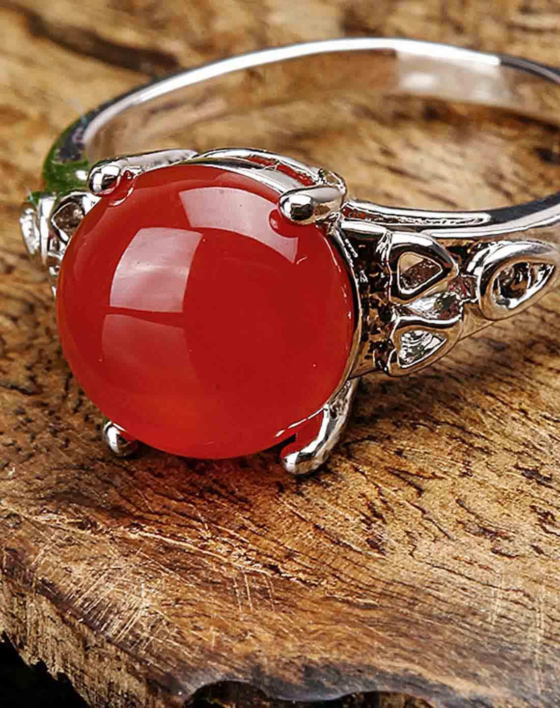 天然红玛瑙戒指附证书