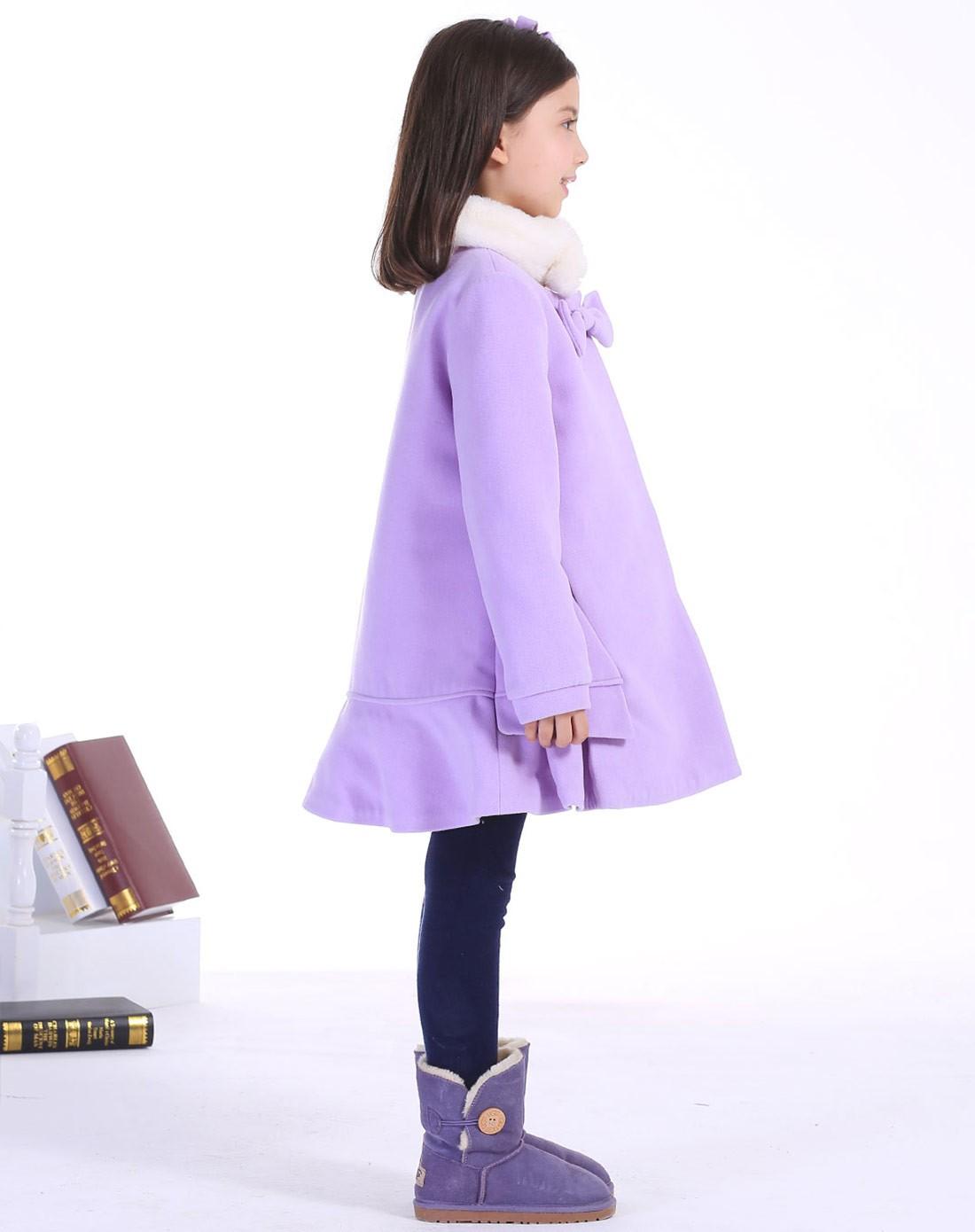 女童浅紫色带毛领领口蝴蝶结装饰呢大衣