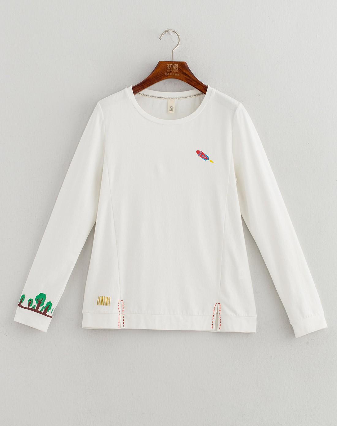 白色袖口可爱印花长袖t恤