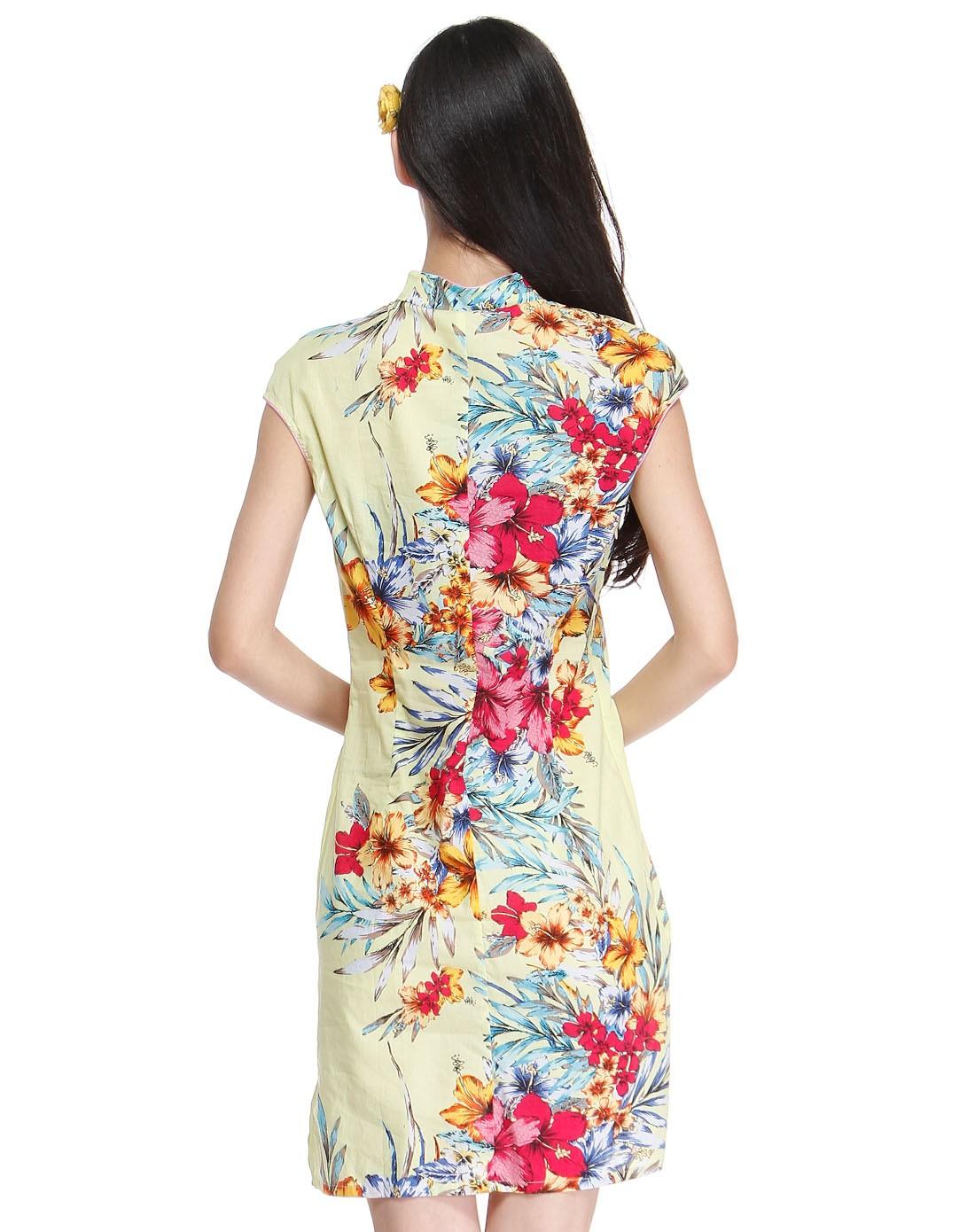 黄/多色花纹民族风盖肩袖旗袍