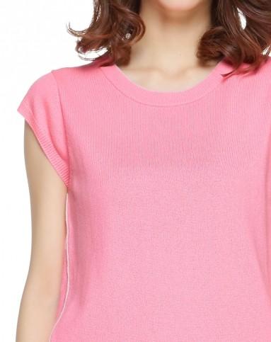 休闲荧光粉色无袖上衣