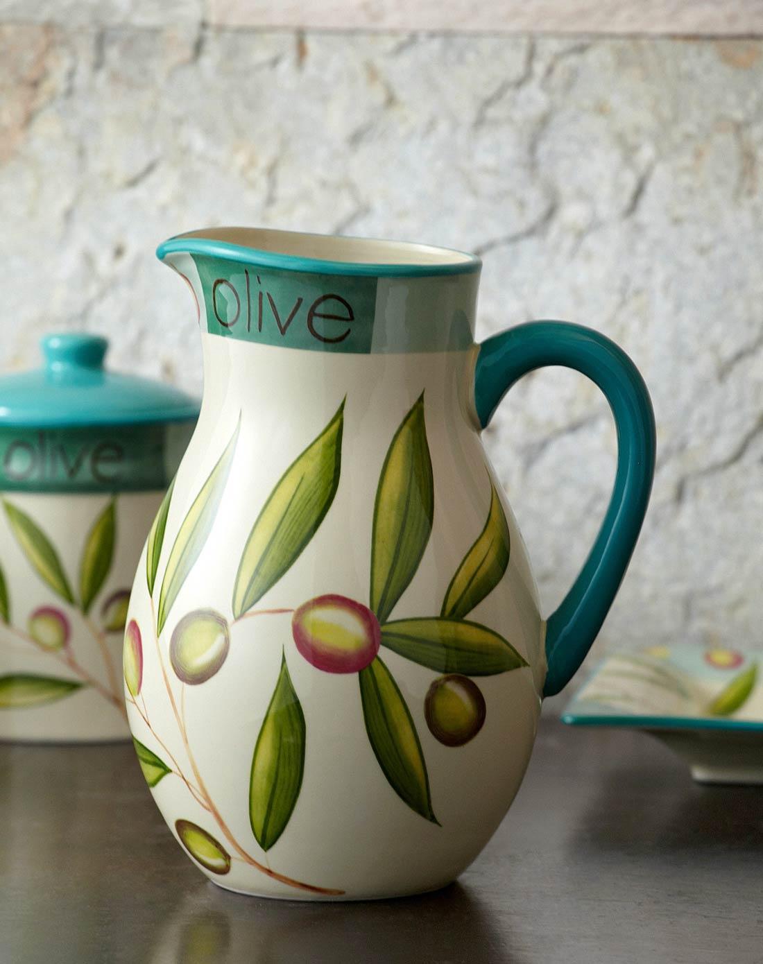 > 2400ml美式橄榄系列陶瓷手绘花瓶/水瓶