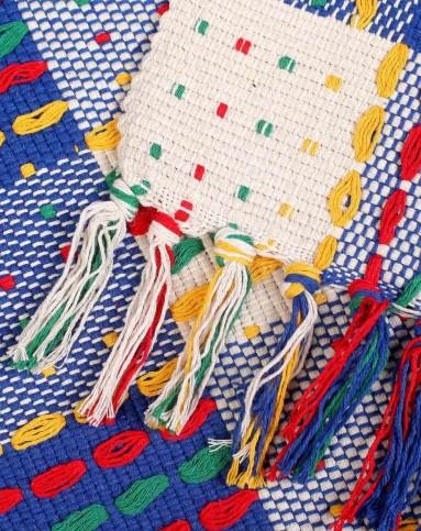 蓝色45cm*70cm七彩民族风虚线流苏地垫