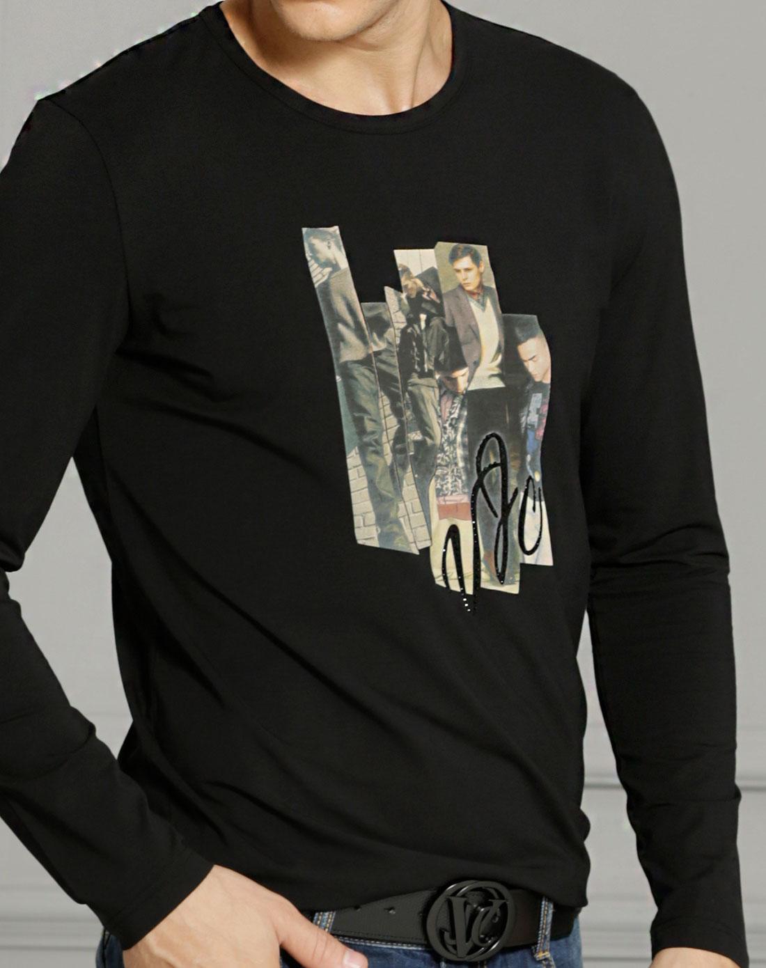 黑色人物印图长袖t恤