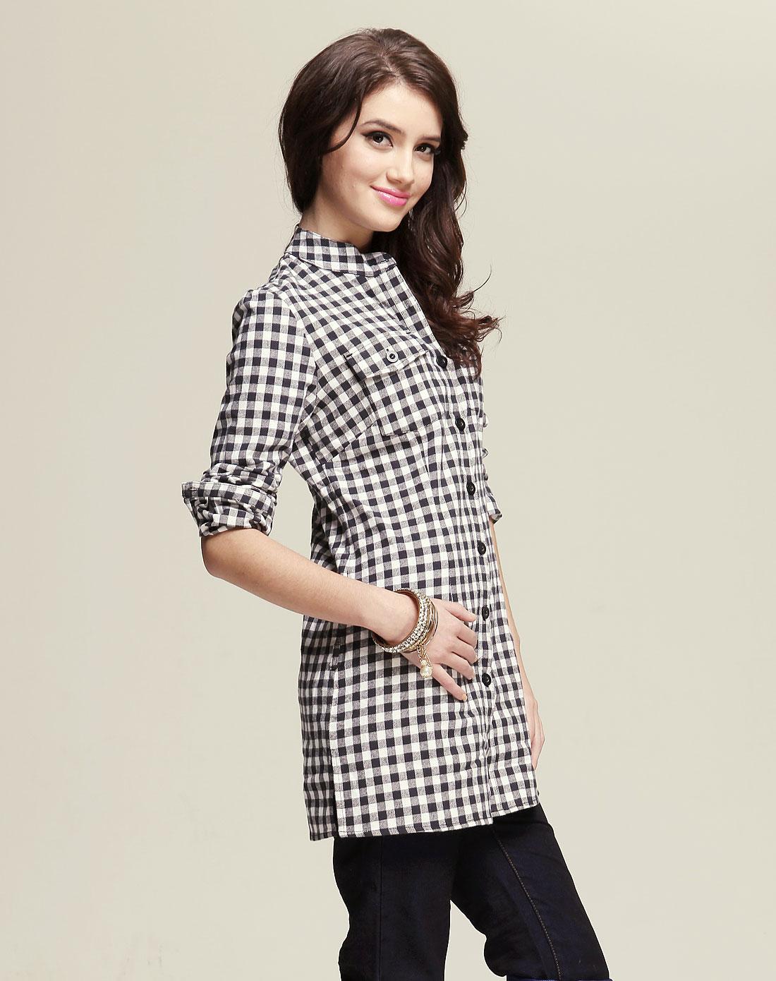 黑/灰白色长袖格子衬衫