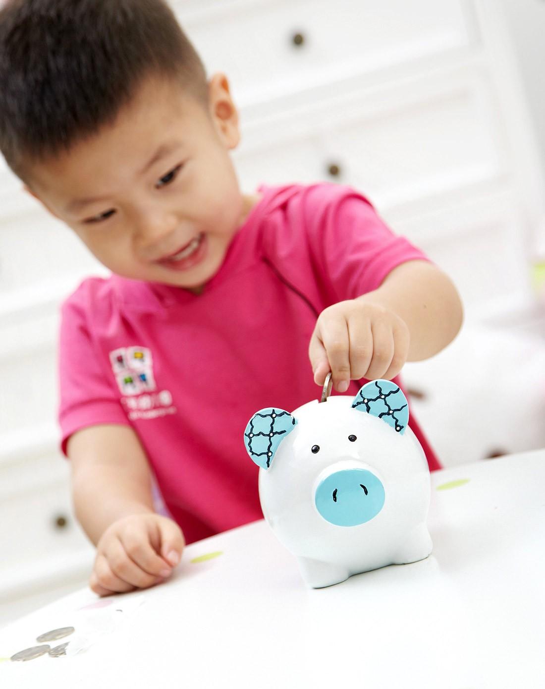 环保手绘树脂儿童储蓄罐-蓝猪