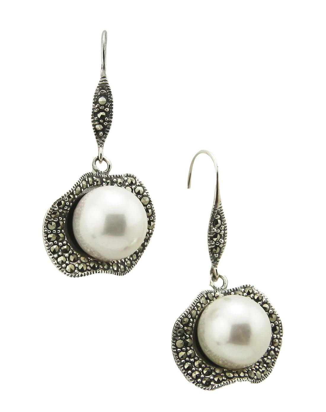 沃佳诺娃voganova 女款白色复古银精品银镶珍珠珍珠耳环