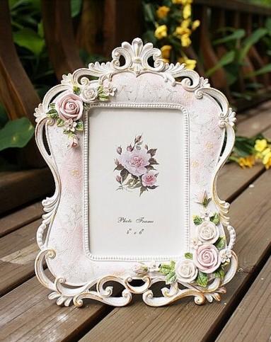 欧式田园浮雕玫瑰镂空花边相框6寸