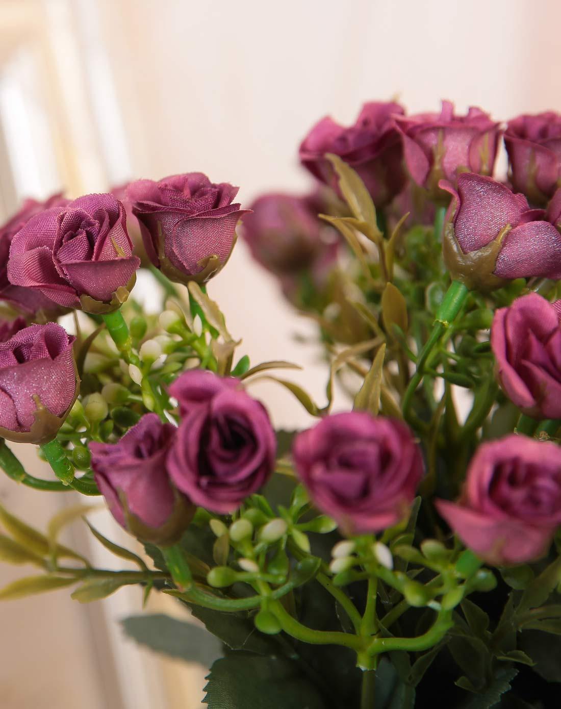 欧式唯美布艺仿真花束-秋色韩国玫紫色