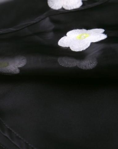 黑色花瓣刺绣a字双层半身短裙