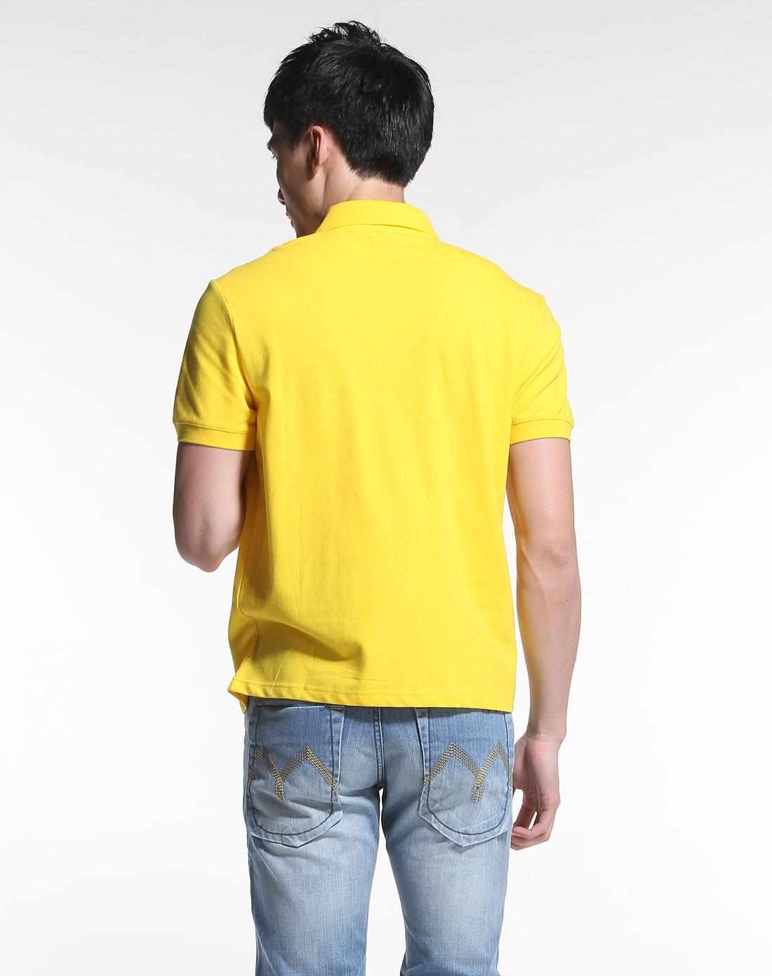 黄色时尚翻领短袖t恤衫