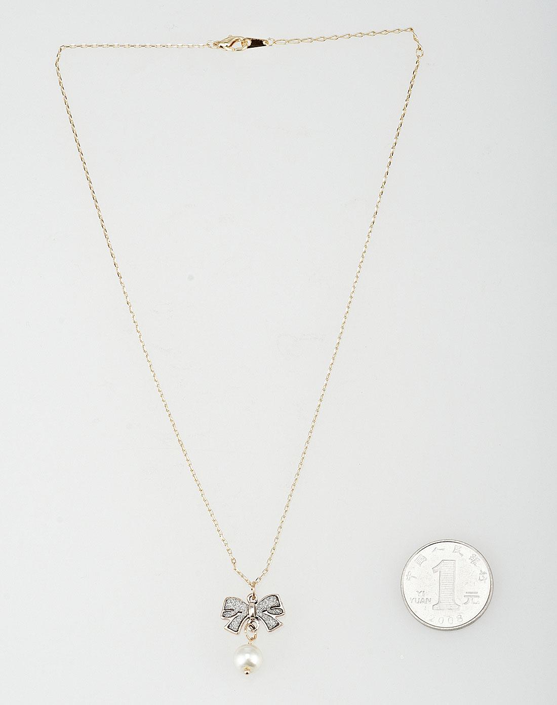 可爱蝴蝶结珍珠吊坠项链