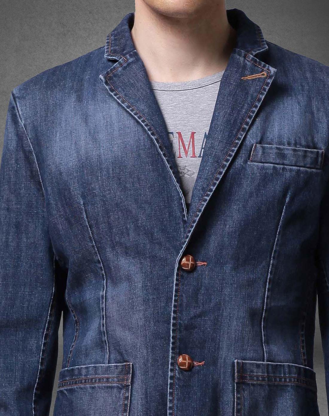 迪尔61马奇男士蓝色时尚复古修身牛仔西装外套m图片