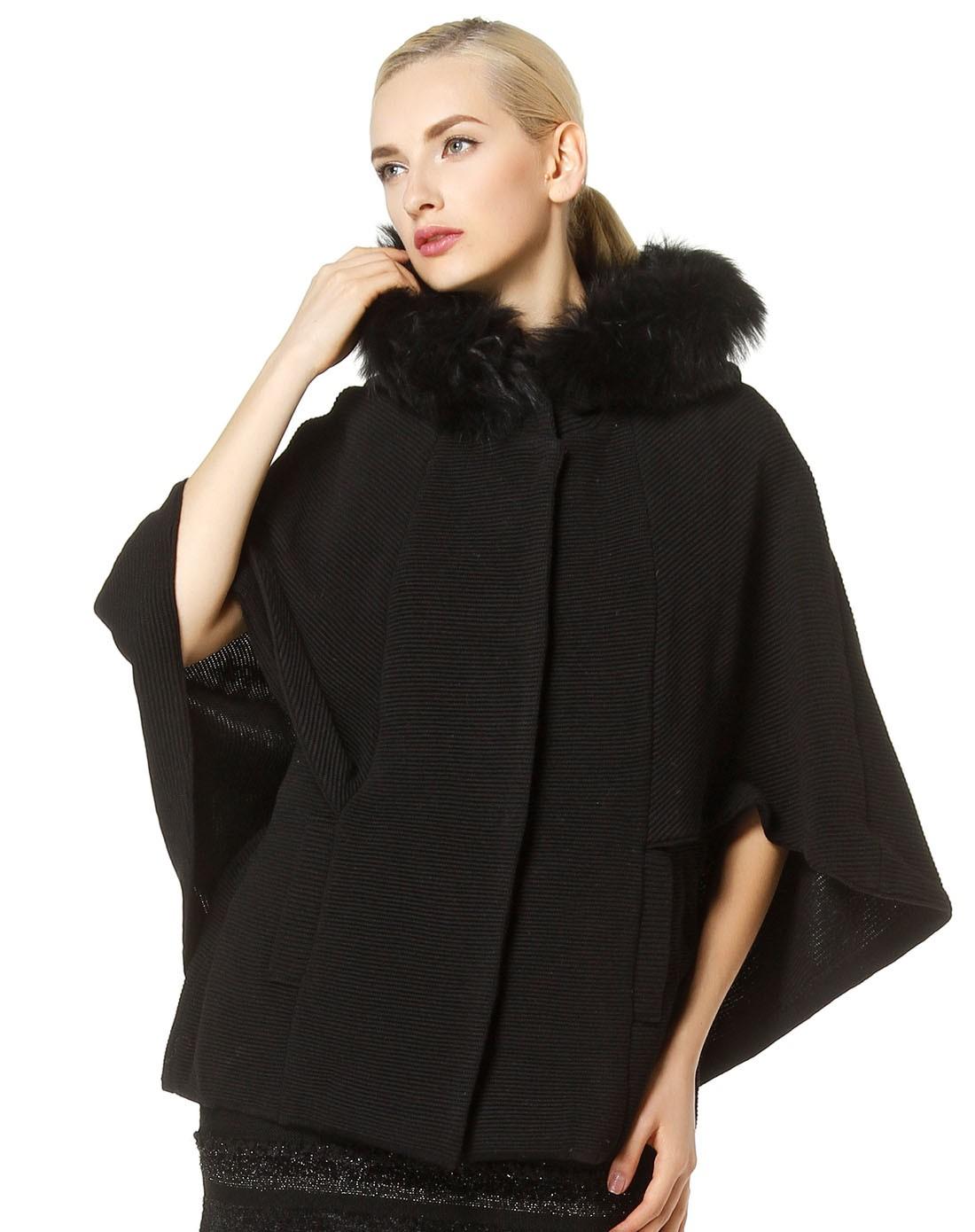 黑色连帽时尚淑女斗篷式针织外套