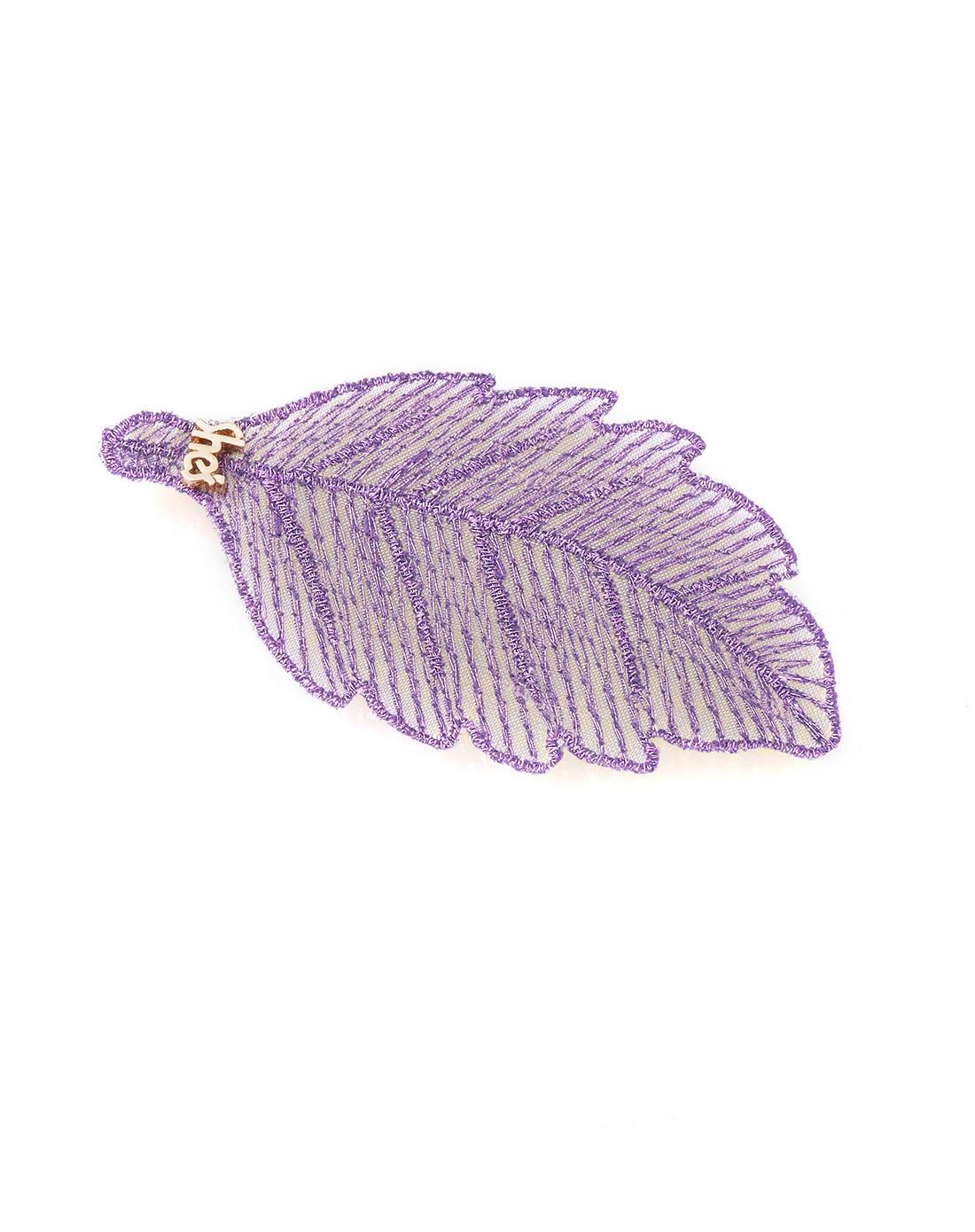 紫色树叶刺绣网纱发贴