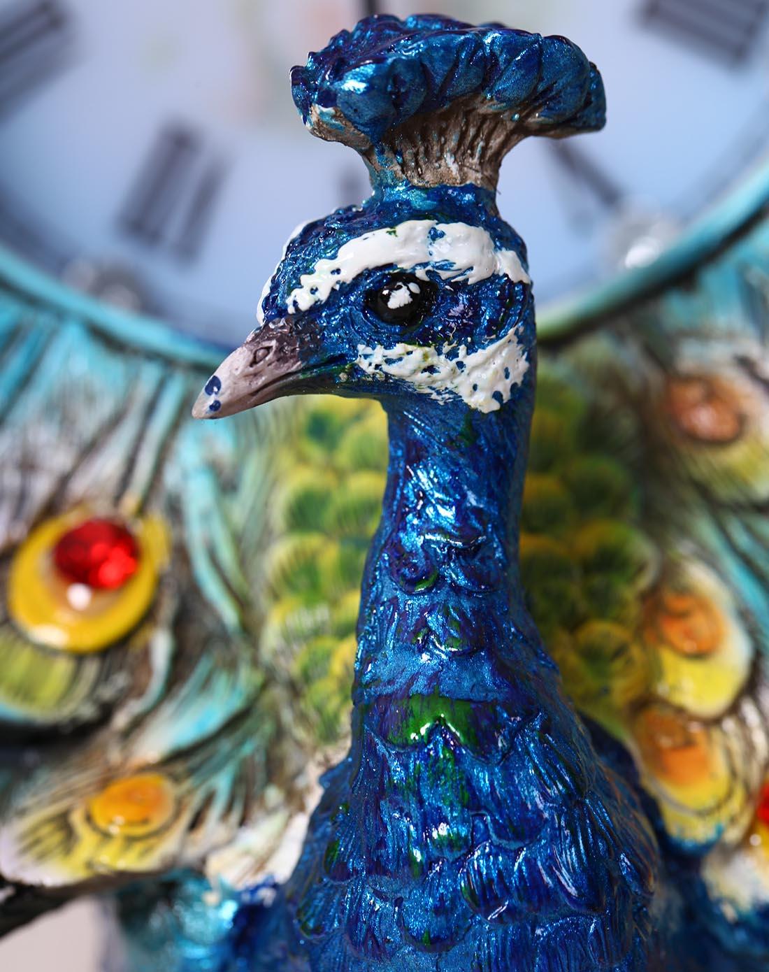欧式复古座钟台灯-彩绘孔雀