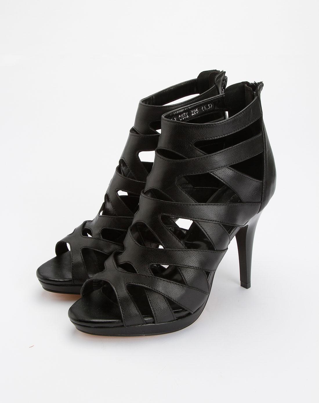 黑色时尚简约高跟凉鞋
