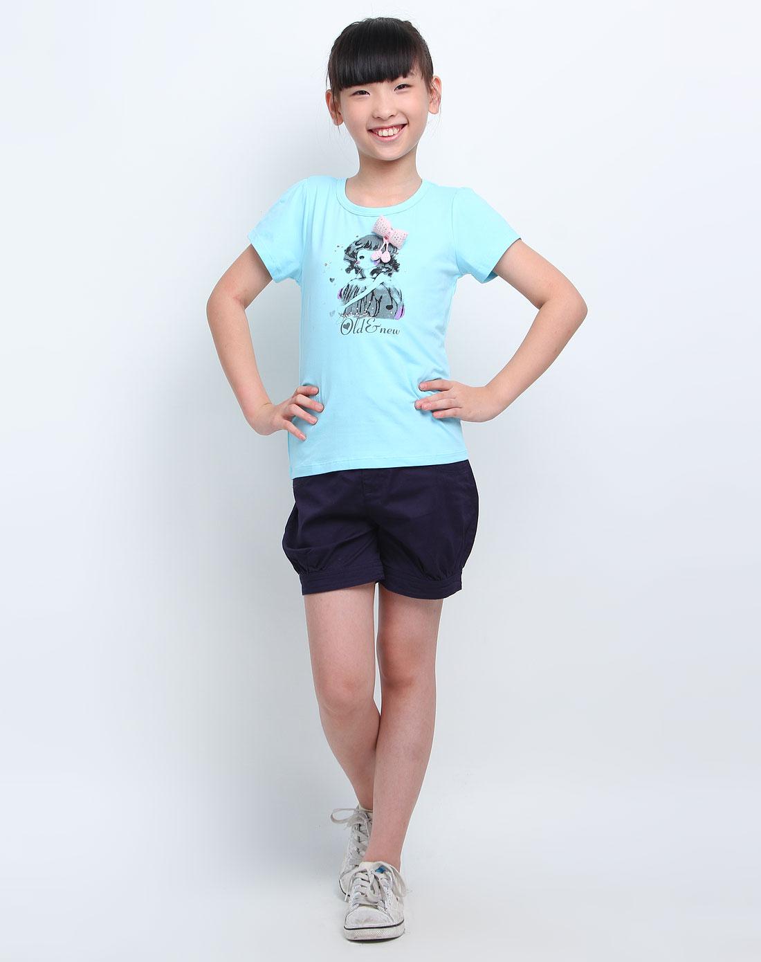 女童蓝色可爱女孩短袖t恤
