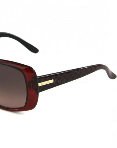 眼镜专场-gucci 女士魅惑酒红品牌logo边框太阳镜