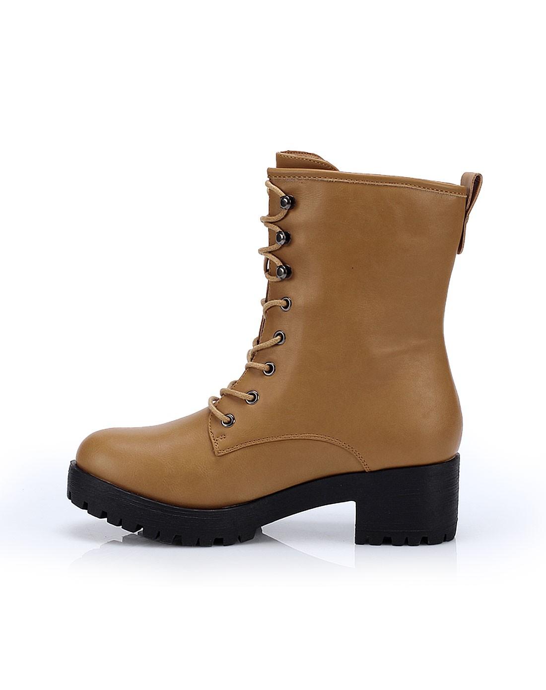 女款黄棕色简约系带粗跟马丁靴
