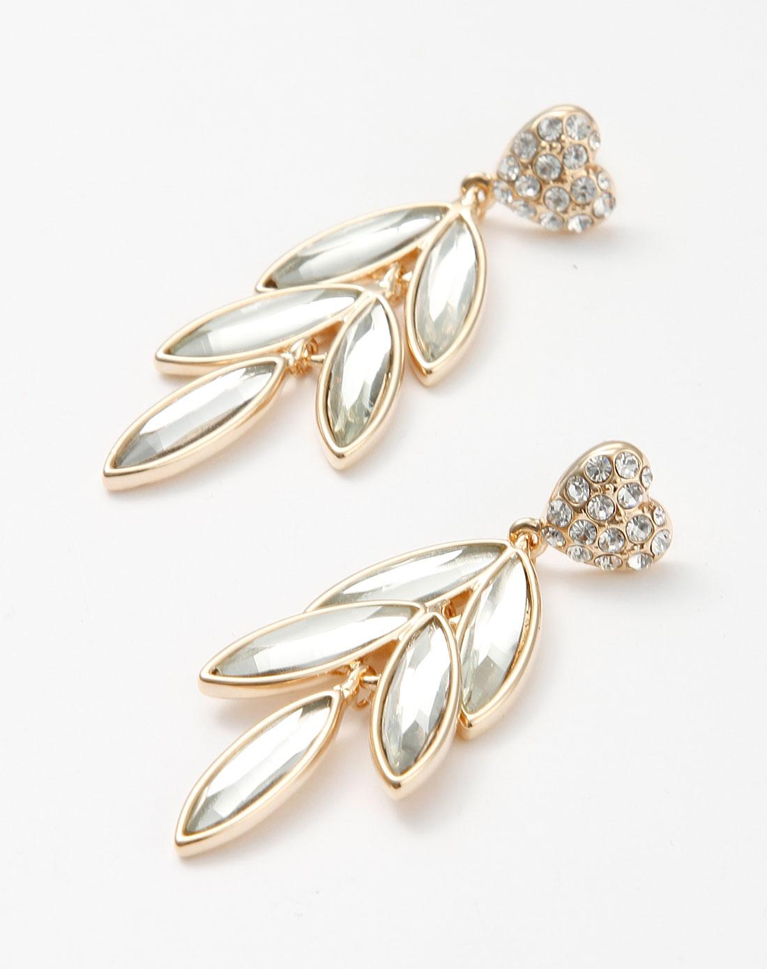 金色镶钻心形树叶耳环