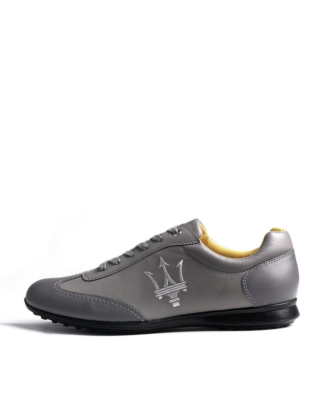 玛莎拉蒂灰色牛皮低邦休闲鞋