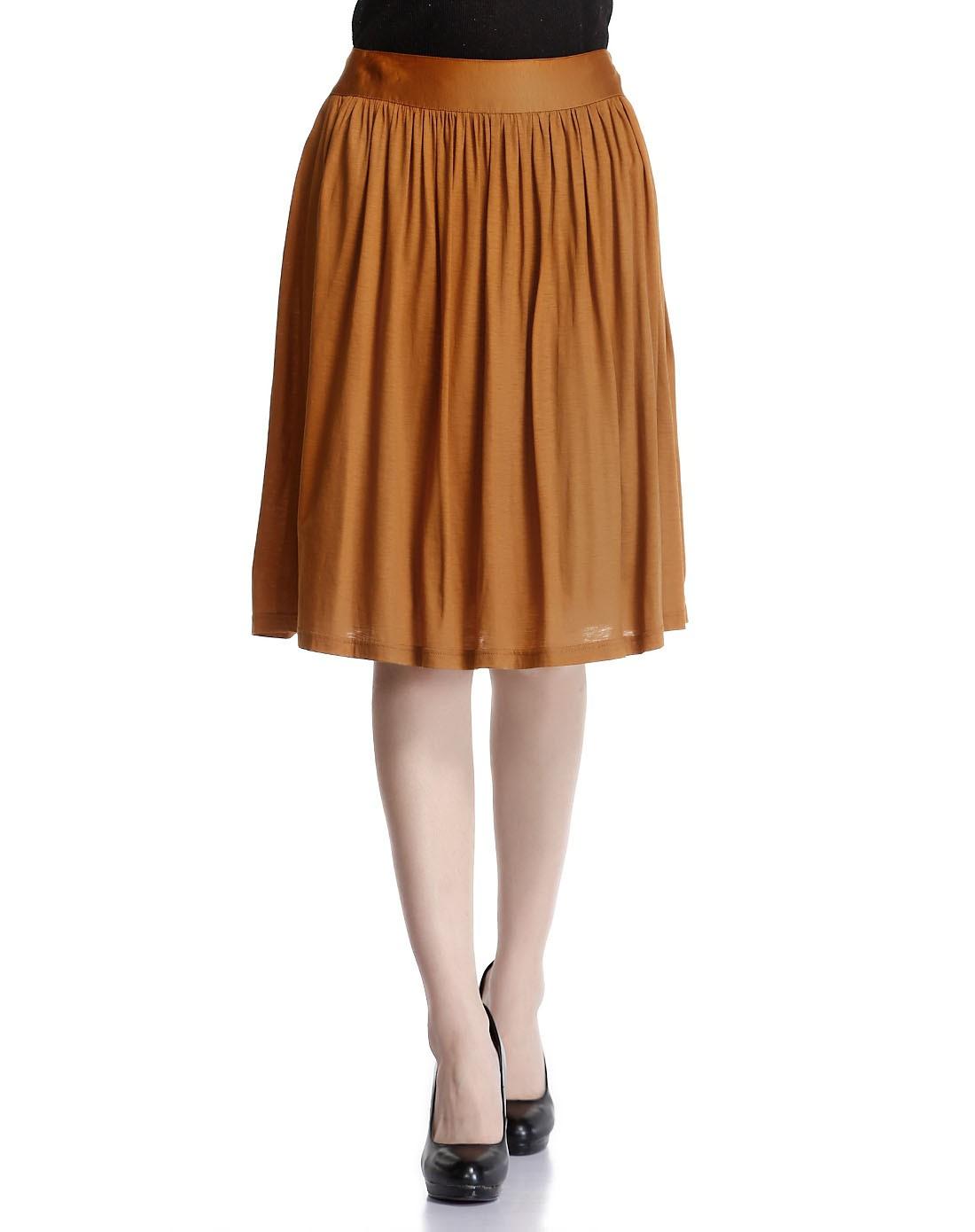 橙棕色简约优雅半裙