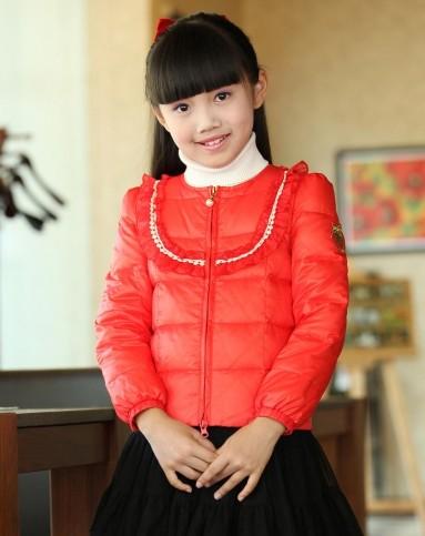 笛莎deesha 女童中国红羽绒服