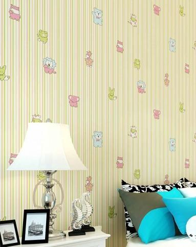 旗航壁纸 可爱卡通无纺儿童房墙纸 彩色竖条男孩卧室壁纸