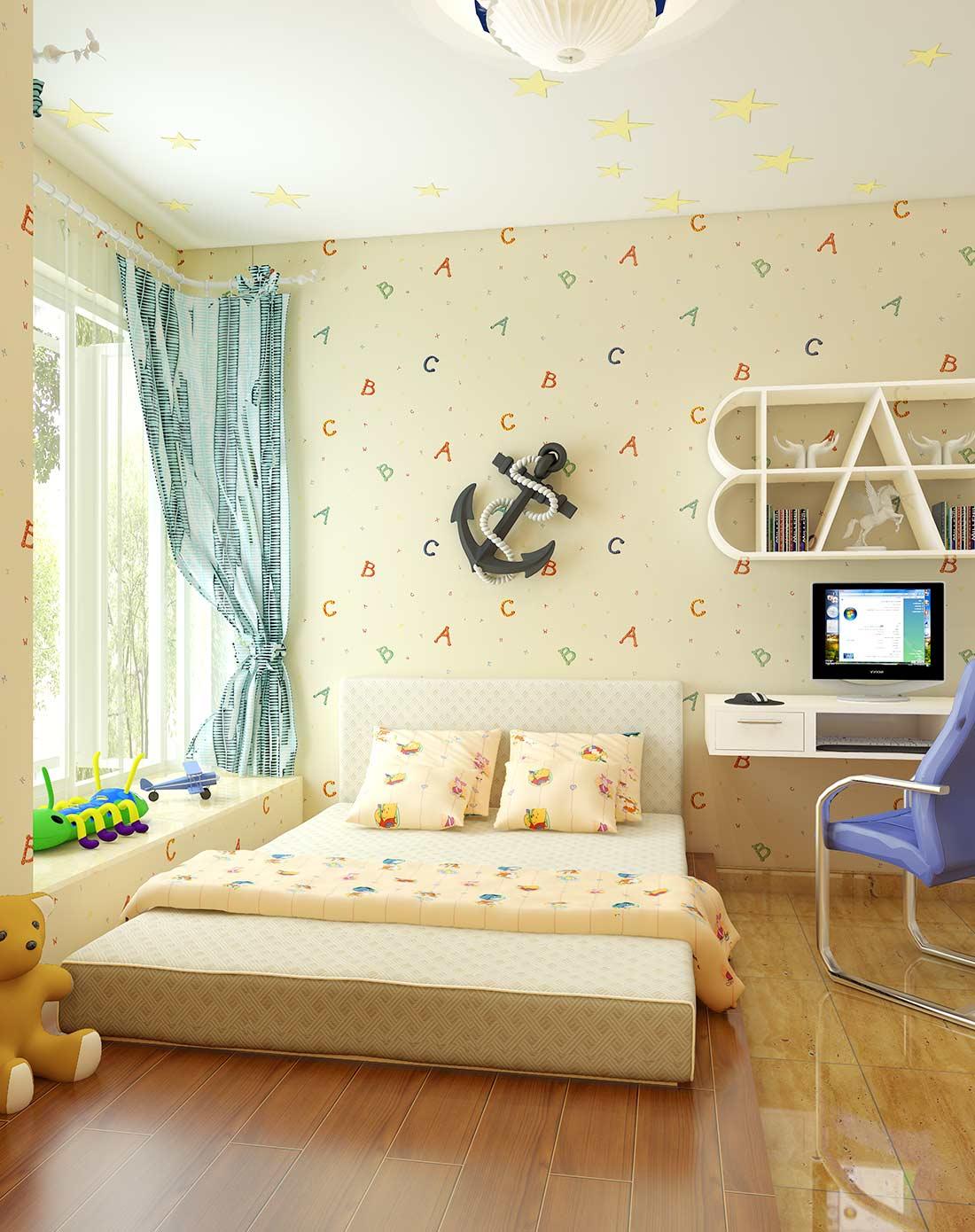 旗航卡通字母儿童房墙纸男孩女孩卧室床头墙纸