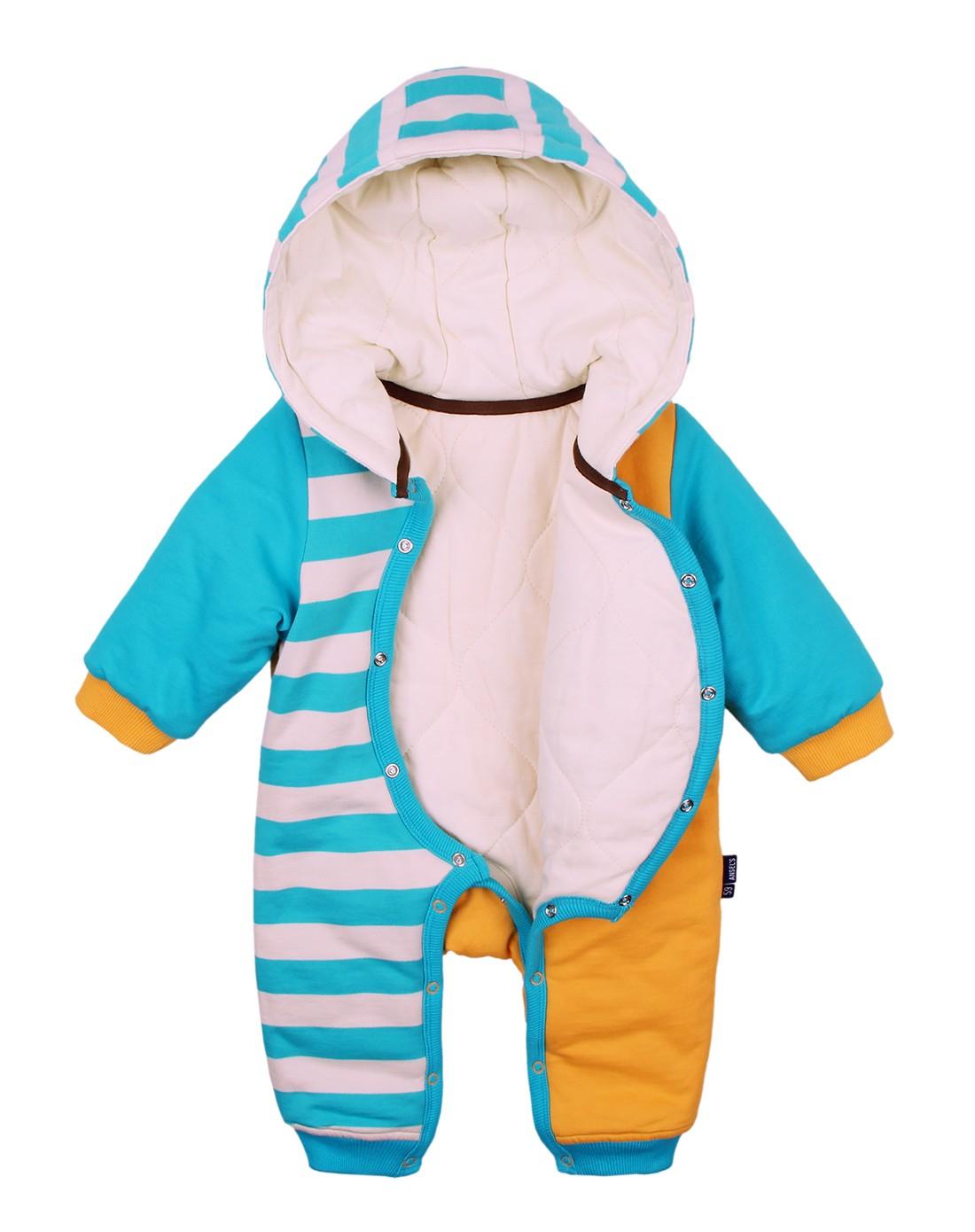 婴幼儿浅橘色可爱小猴连体棉衣