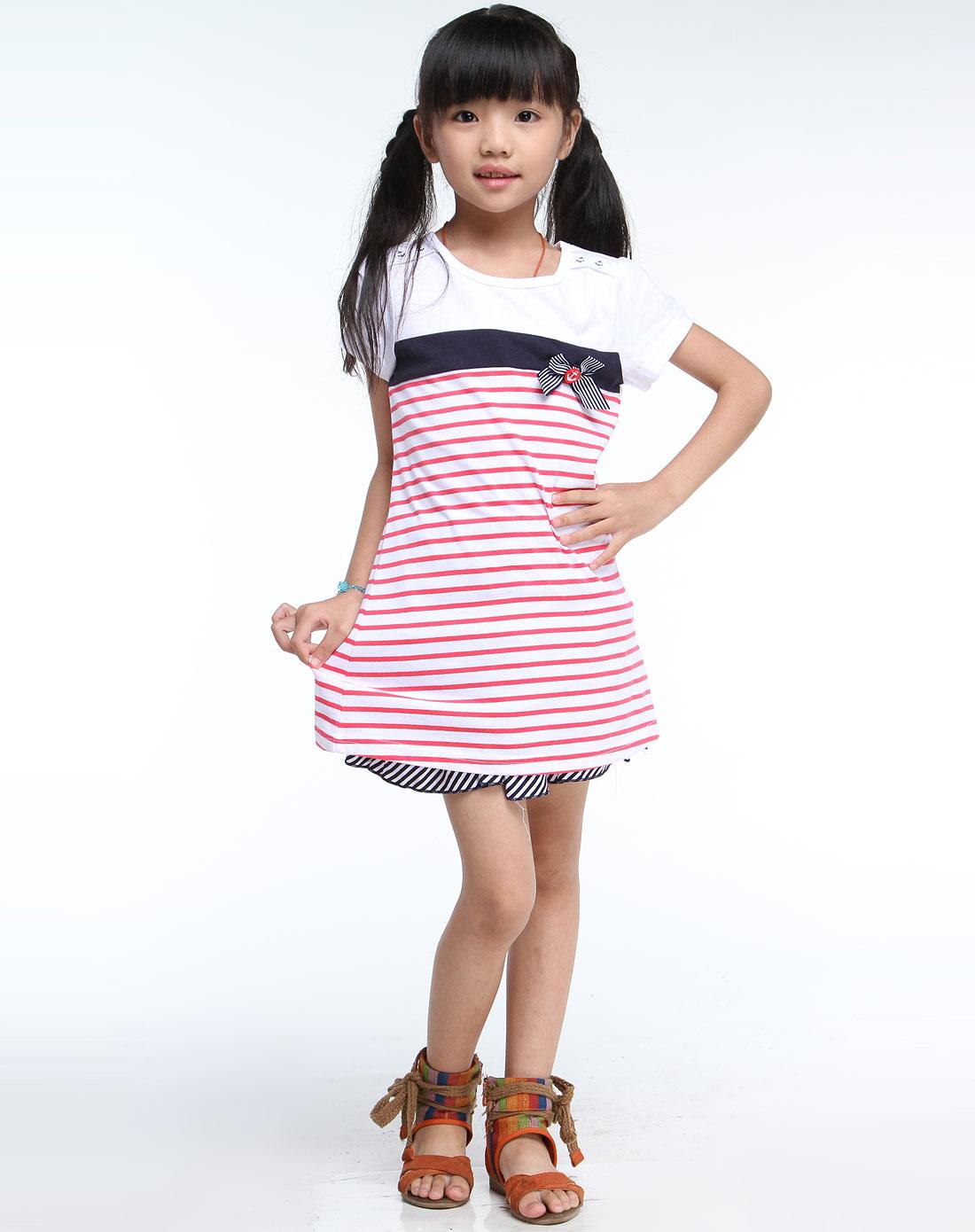 巴拉巴拉balabala男女童混合专场-女童白/红色条纹圆领短袖t恤