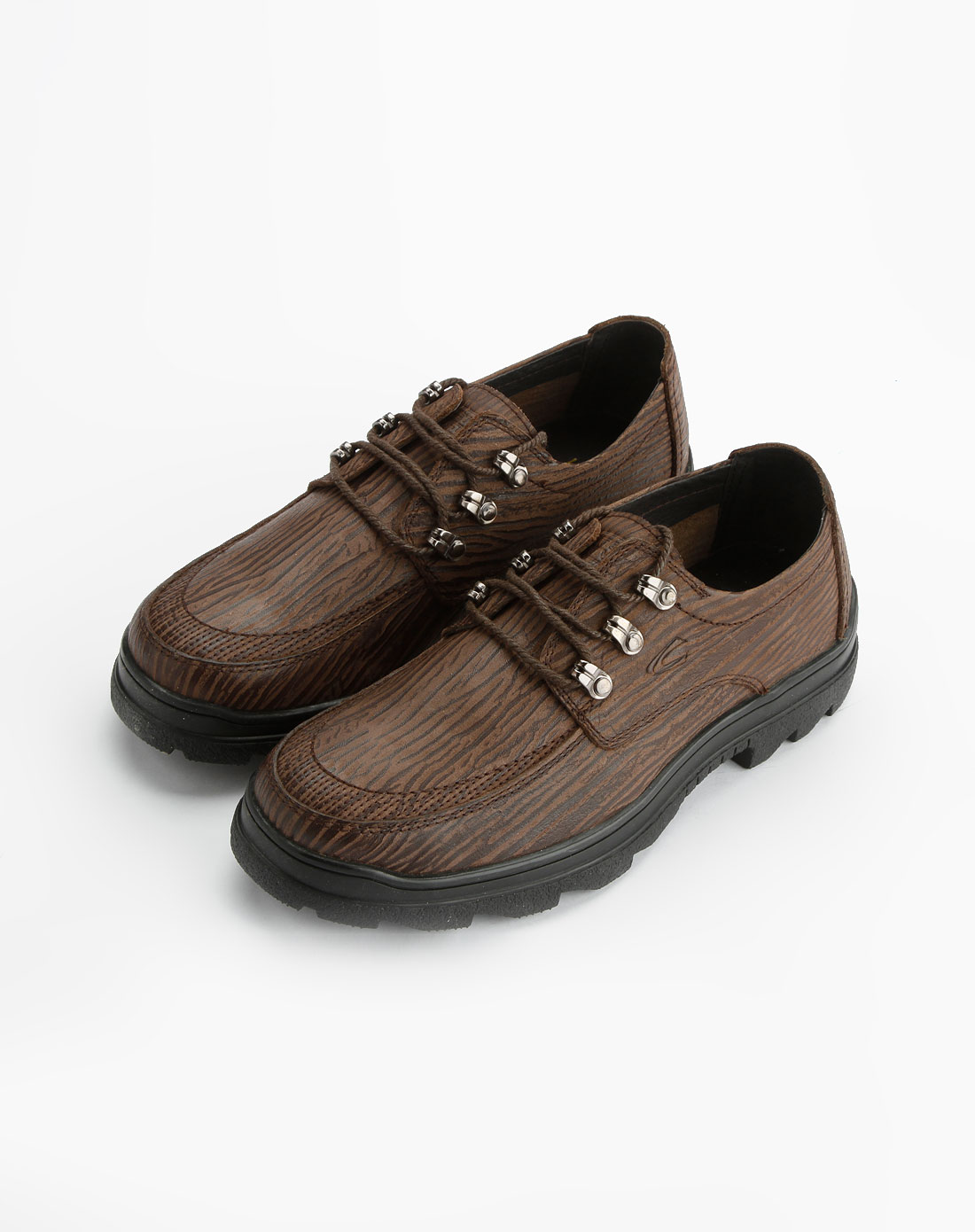 active男款啡色树纹系带皮鞋