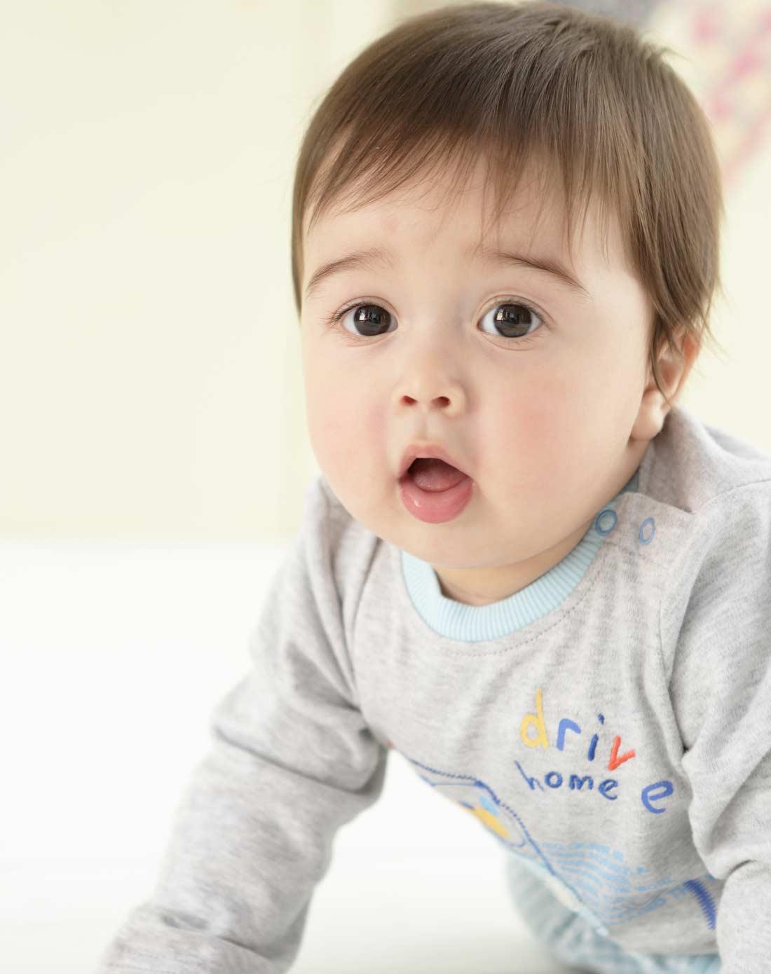 男宝宝花灰针织套装