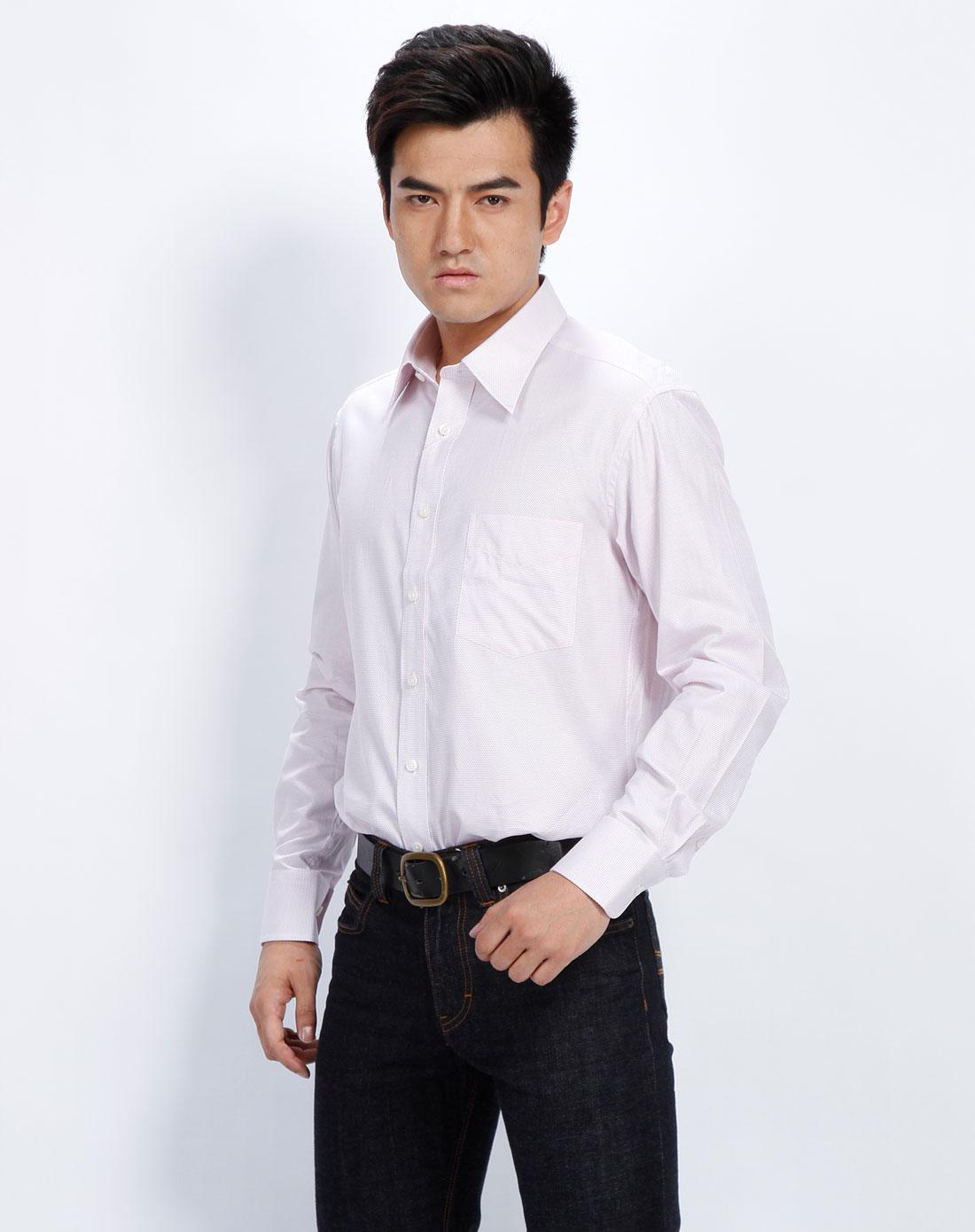 男款红底白条纹斜纹长袖衬衫