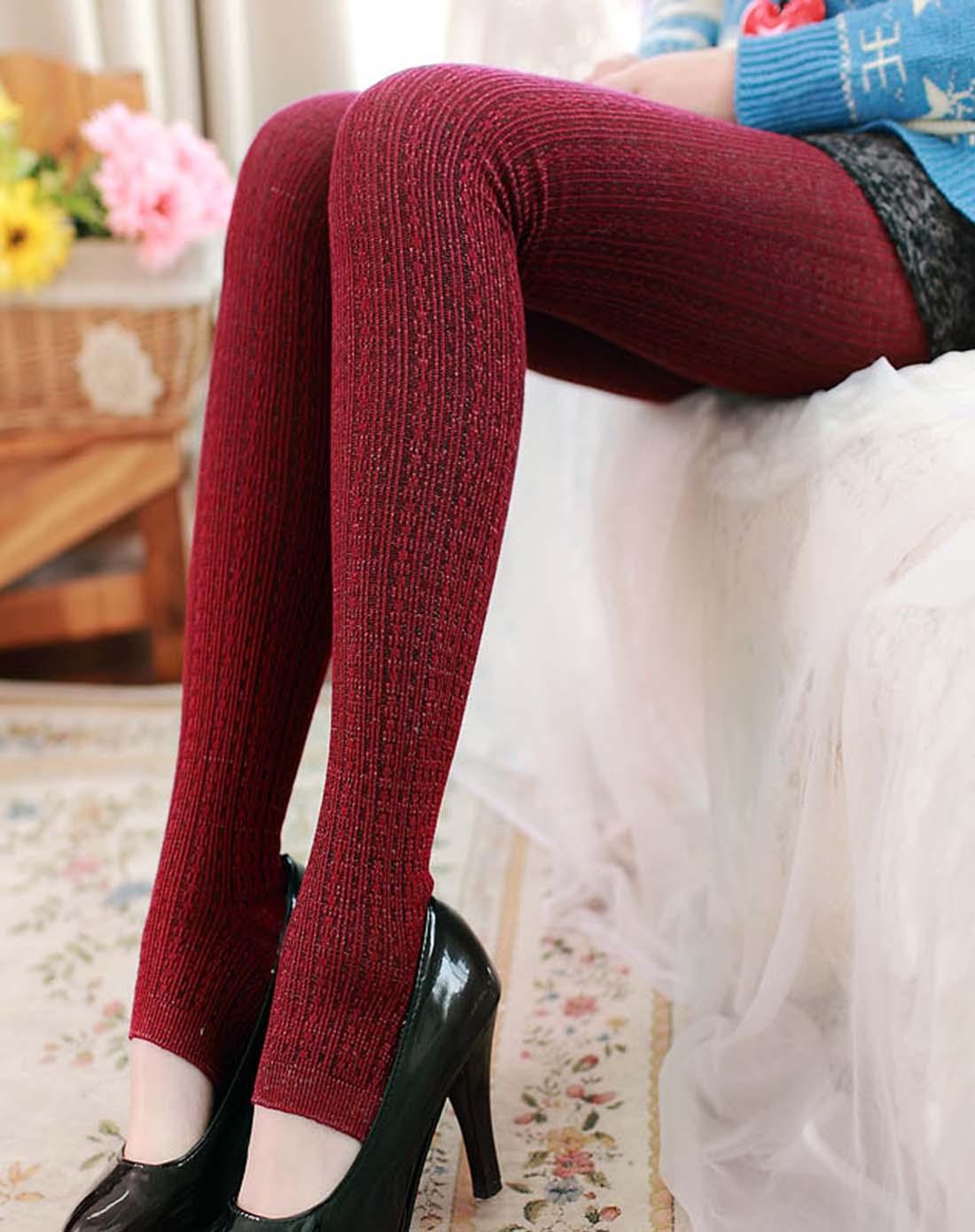 条纹带亮丝加厚连体袜