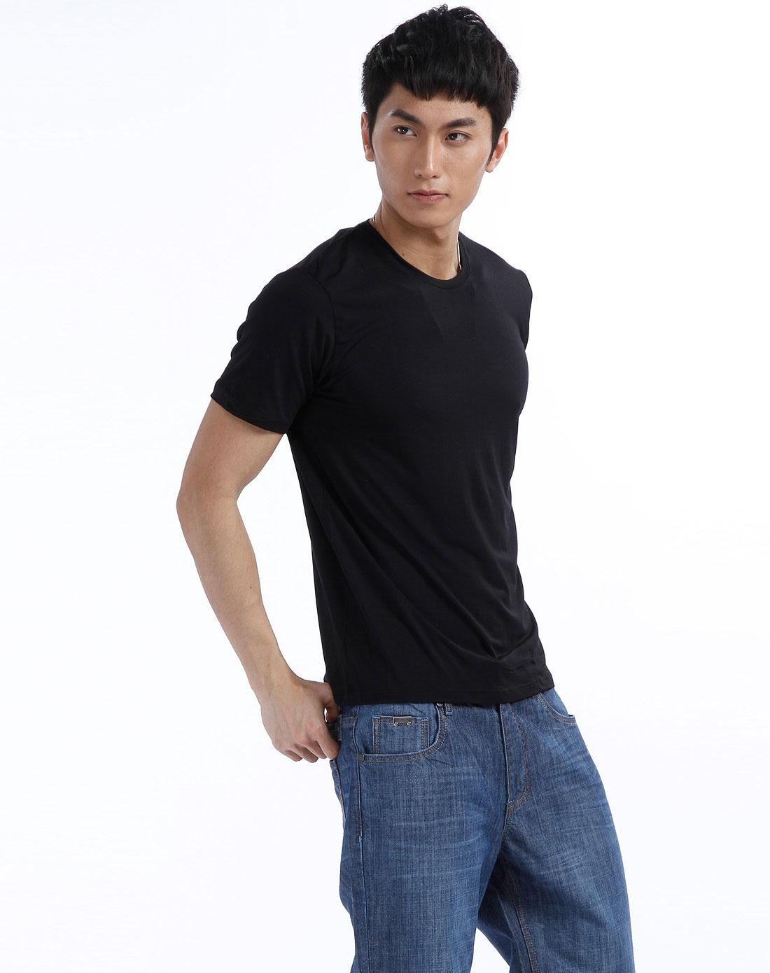 男男无?9d#9?)??i_t&di-男款黑色圆领短袖t恤