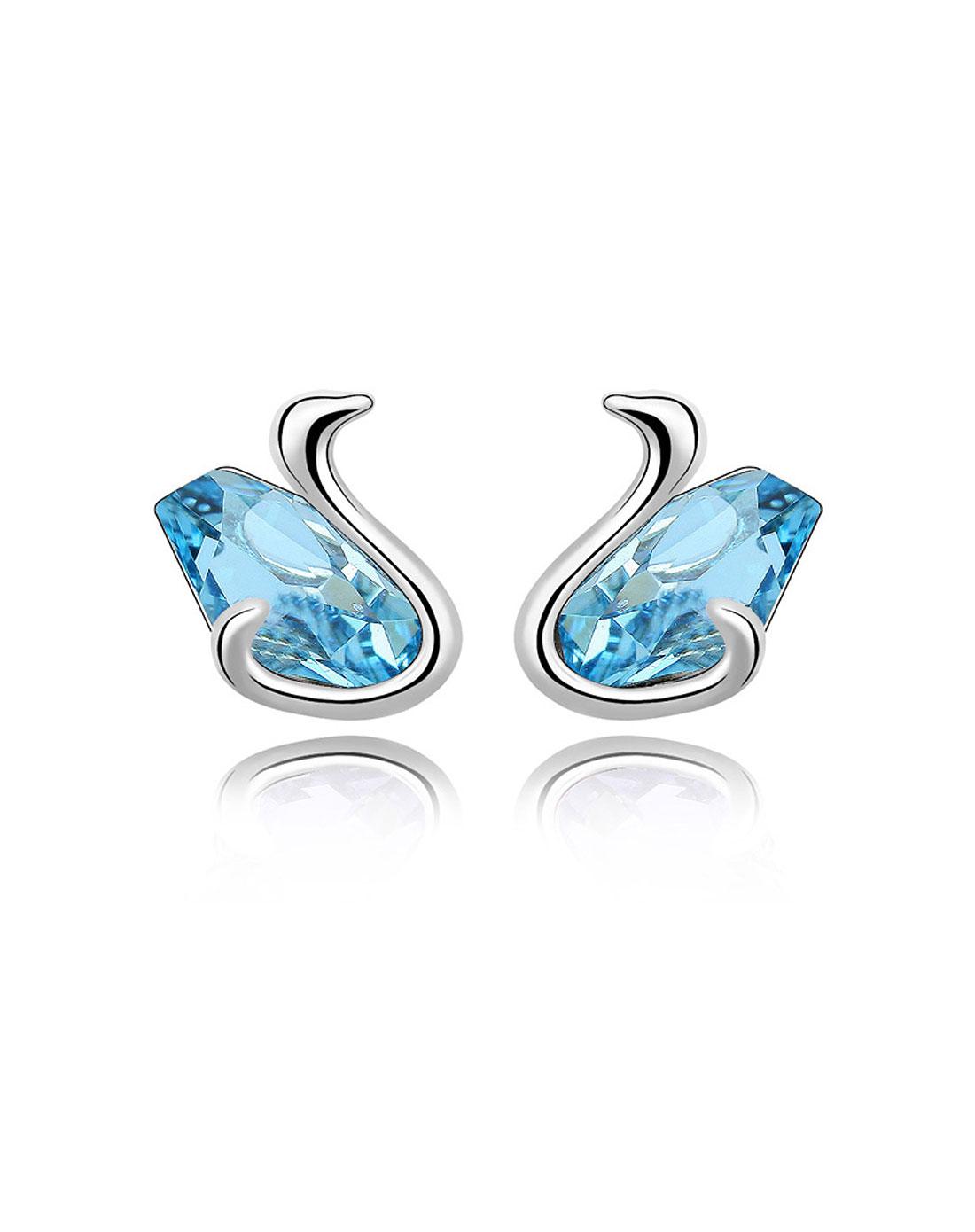 奥地利水晶耳针--舞天鹅(海蓝)
