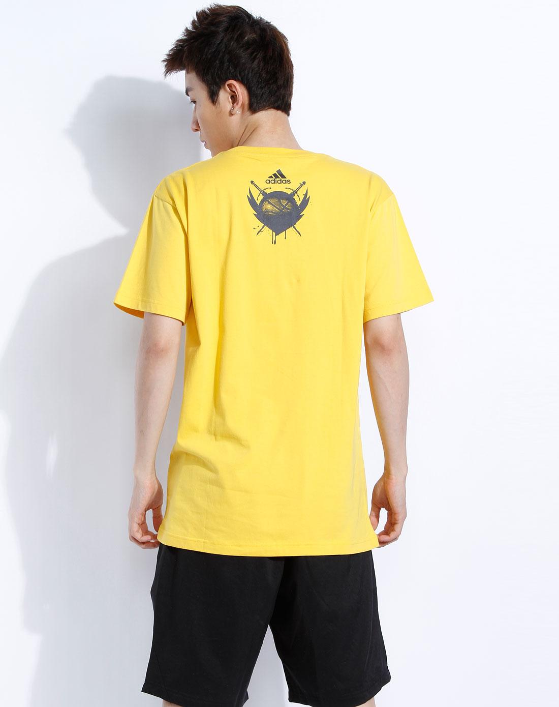 阿迪达斯adidas-男款黄色短袖t恤