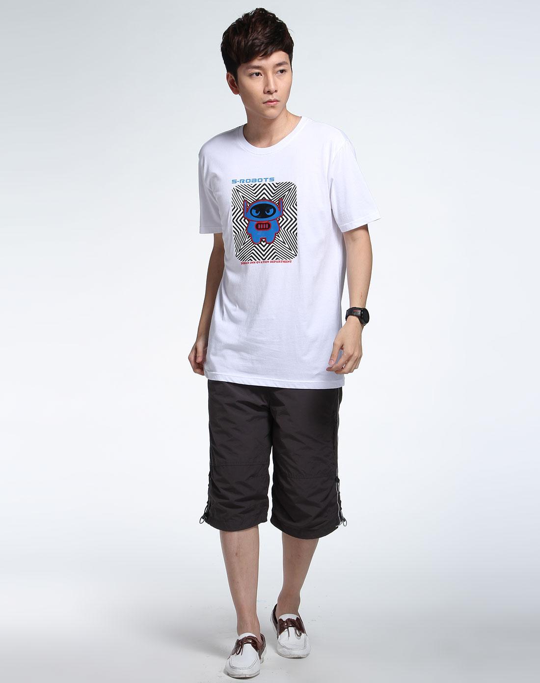 森马男装专场-白色短袖个性t恤图片