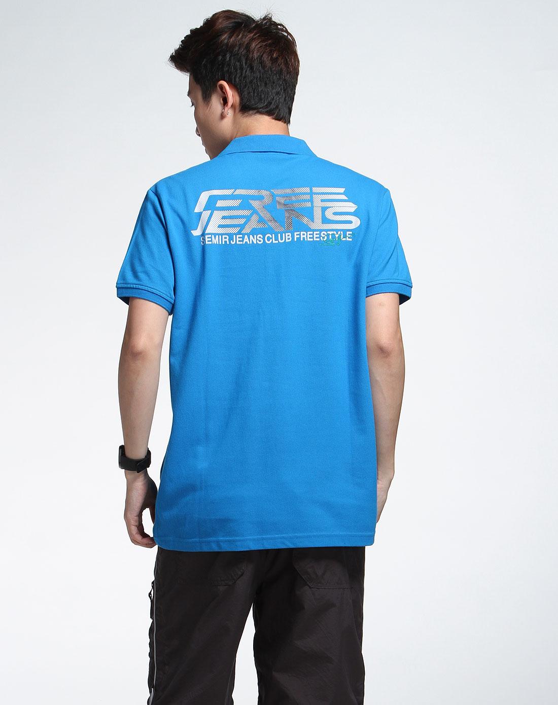 森马男装专场-蓝色简约短袖t恤图片