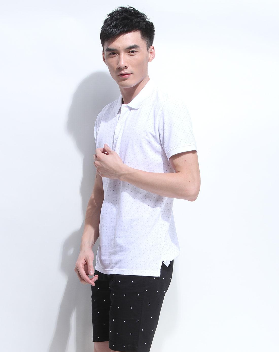 白色时尚简约小圆点短袖针织衫