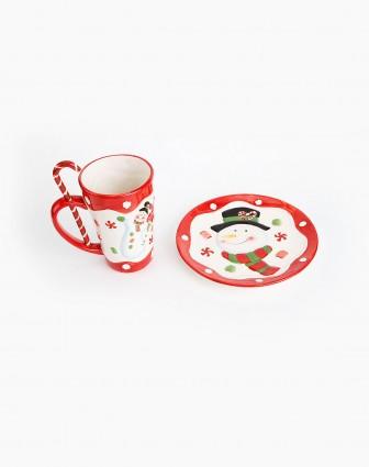 糖果工厂手绘奶茶杯/盘套装(杯子500ml)